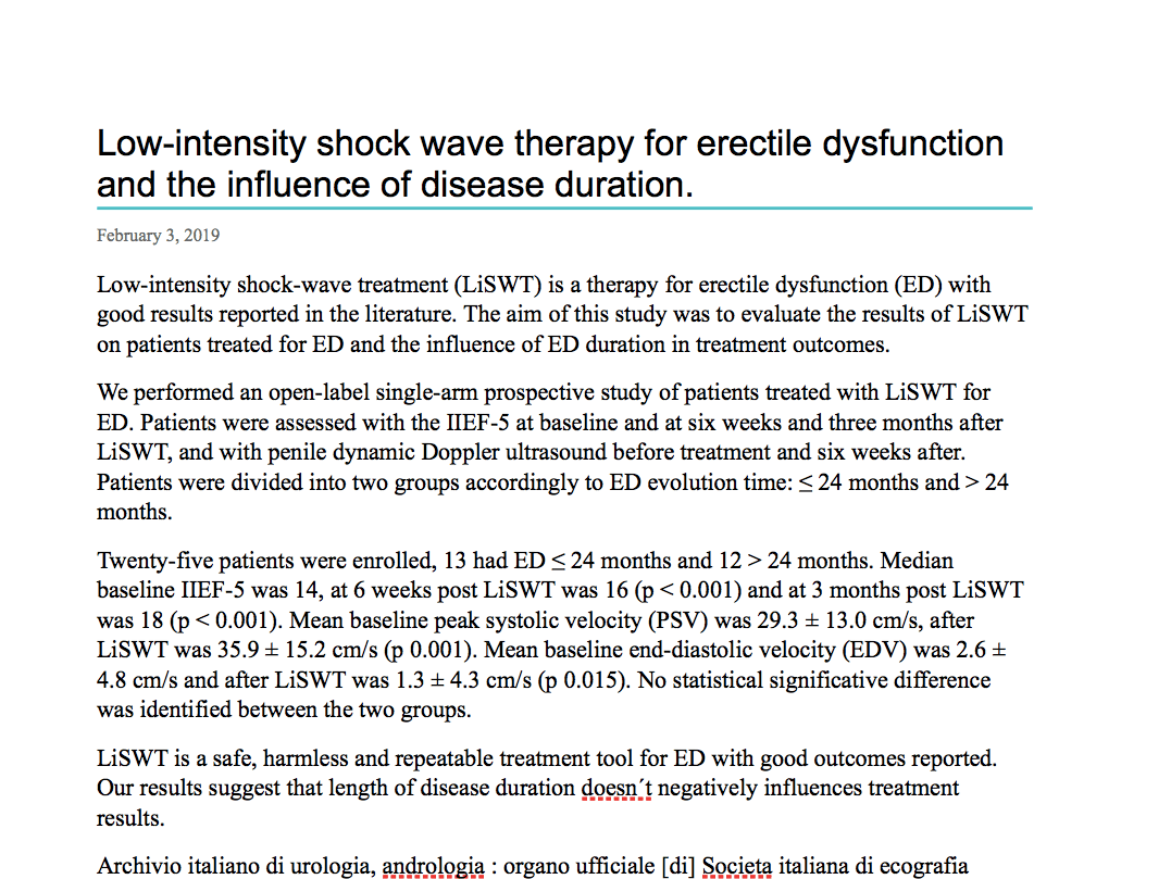 Low-intensity shock wave therapy for erectile dysfunction and the influence of disease duration.