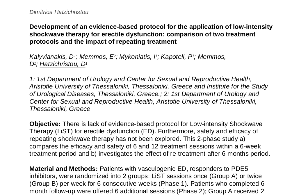 Development of an evidence-based protocol for the application of low-intensity shockwave therapy for erectile dysfunction: comparison of two treatment protocols and the impact of repeating treatment