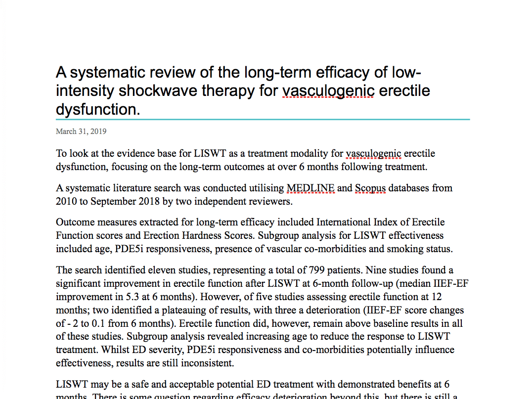 A systematic review of the long-term efficacy of low-intensity shockwave therapy for vasculogenic erectile dysfunction
