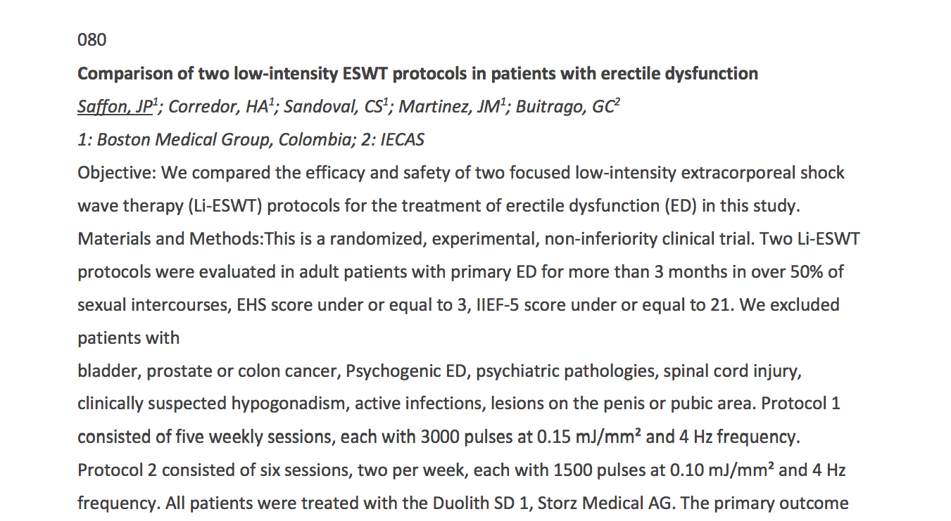 Comparison of two low-intensity ESWT protocols in patients with erectile dysfunction