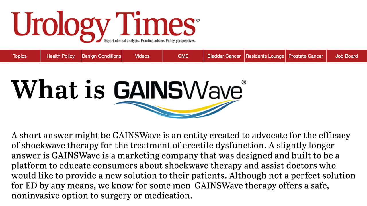 GAINSWave Highlighted on Urology Times